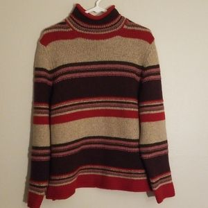 Eddie Bauer brown and red knit turtle neck sweater